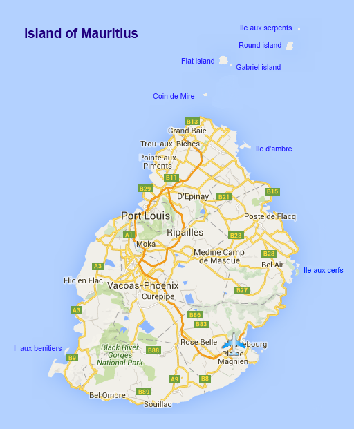 Maps Part - Detailed map of mauritius